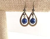 Lapis earrings, blue lapis lazuli earrings, antique brass hoop earrings. Boho hoop earrings, lapis and antique brass tear drop earrings
