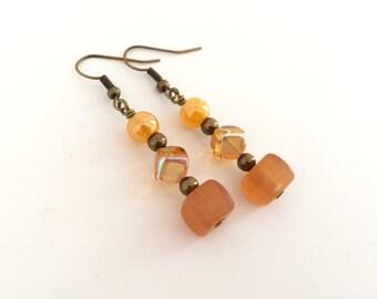 Yellow orange ombre earrings, yellow dangle boho earrings, orange drop earrings. Ombre bead earrings, glass beads, boho style jewelry beads
