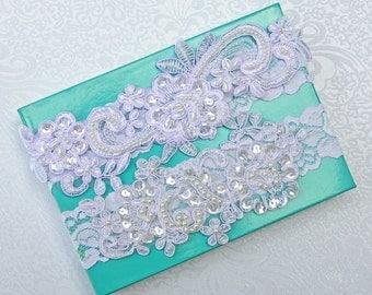 WHITE wedding garter set, bridal garter, customizable, lace garter, keepsake and toss garter, wedding garter, flower garter