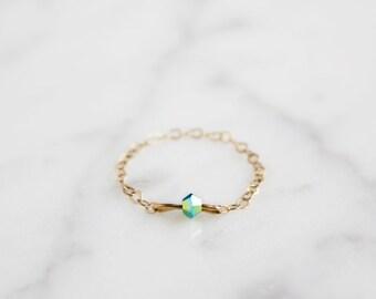 blue cristal ring. little. tiny. minimalist jewelry. pretty.