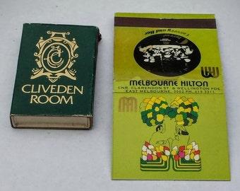 Vintage 1970s Melbourne Hilton Restaurant Matchbook And Matchbox