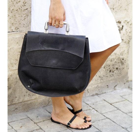 Black Leather Top Handle Bag  / Women Purse / Handbag / Crossbody Bag / Shoulder Bag  / Tote Bag / Big Bag / Elegant Bag - Gabriel