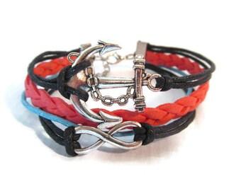 Multi-Strand Charm Bracelet: Infinity, Anchor - Red, Blue, Black