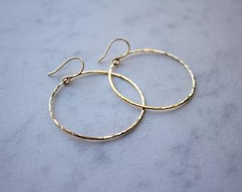 Gold Hammered Hoop Earrings