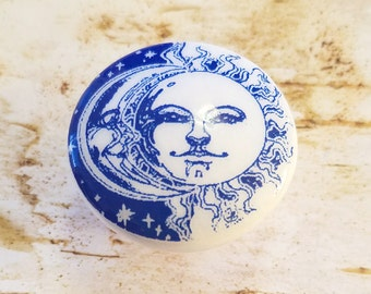 ON SALE Sun and Moon Knob Drawer Pulls, Blue and White Birch Wood Knobs, Handmade Cabinet knobs, Sun Face Dresser Knobs, Made to Order Style