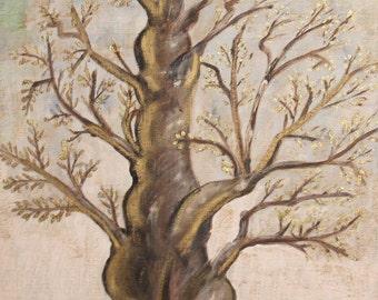 Modernist landscape tree vintage oil painting