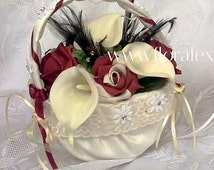Silk Black and Burgandy Flowergirl Basket with Burgandy Foam Roses, Ivory Calla Lily and  Black Feathers in an Ivory Satin Basket