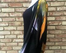 Silk Satin Kimono Robe, Kimono Cardigan, Dolman Top, Kimono Wrap, Japanese Peacock Print, Gift for Her, Womenswear, Beach Cover, Luxe