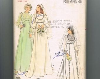 70s Wedding Dress Sewing Pattern, Bridesmaids Dress Pattern, Fitted Bodice, Jewel Neckline, Flared Skirt, Butterick 4887, Size 10 Bust 32.5