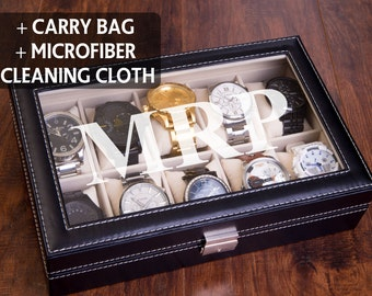 Watch Box for Men or Women, Personalized Watch Case, Engraved Display Storage, Groomsman Gift, Valet Box, Anniversary, Christmas Gift