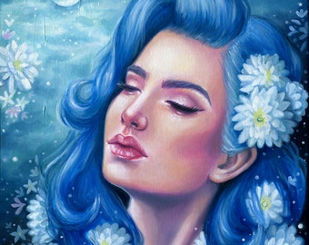Ethereal Blue Oil Painting - Female Portrait - Fine Art Print