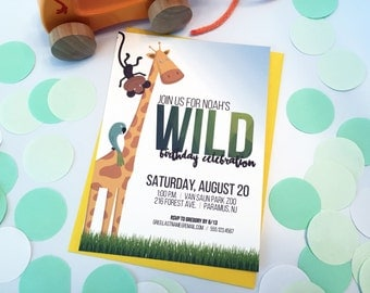 Safari Zoo Jungle Animal Birthday Party Invitation