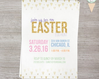 Easter Egg Hunt Invitation - Personalized - Pastel & Gold