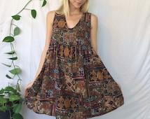 Earthy Mandala Boho BABYDOLL DRESS    Worthington Bohemian Sleeveless Tank Dress