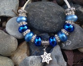 ON SALE Hanukkah Charm Cuff Bracelet, Star of David, Chanukah, Jewelry Gift, Jewish Star, Blue Bracelet, Silver Plated, Beaded Jewelry