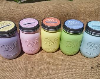 Wholesale Candles / 6 Soy Candles / Painted Mason Jar Candles / 16oz 100% soy handmade candles / Scented Candles Set