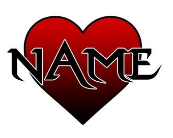 MUG: Personalised Gothic Heart... Coffee Mug (Name)