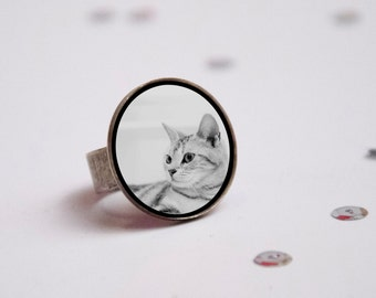 Adjustable ring with your personalized cat / Photo Gift / Personalized Jewelry /