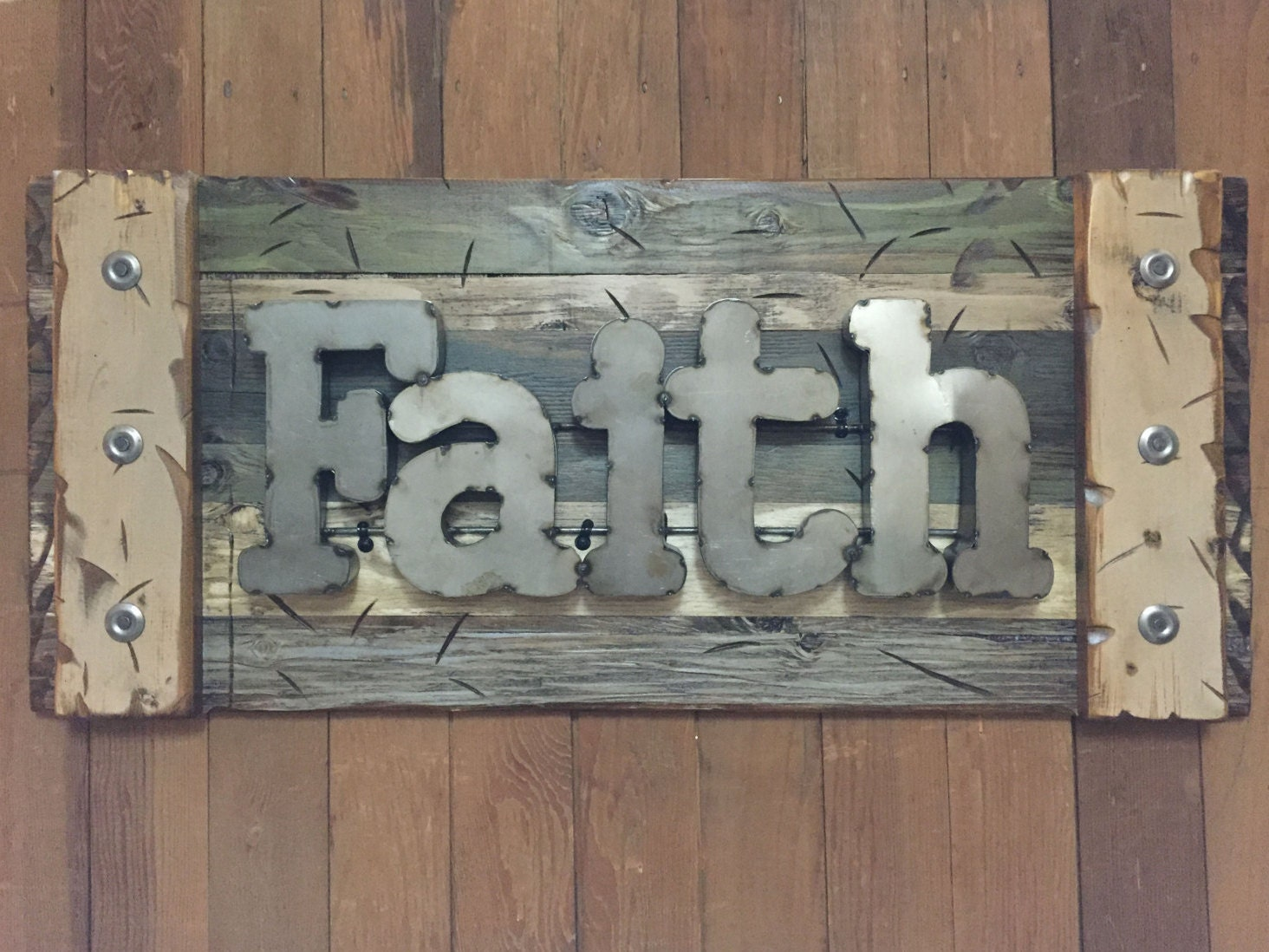 FAITH Rustic Sign Reclaimed Shutter Distressed Industrial