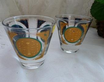 Vintage MID CENTURY BARWARE Glasses Shot Whiskey Scotch, Set of 2, Geometric Space Age Gold Teal Blue Atomic, Mad Men, Eames Era