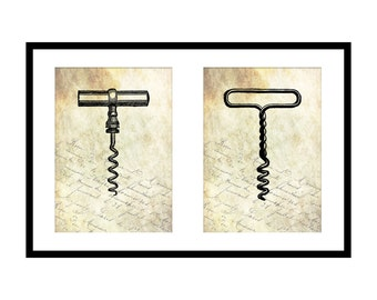 5x7 Antique Corkscrew Print Set: Gifts for Wine Lovers - Printable Victorian Wall Art - Gift for Her - Kitchen Wall Decor - Bar Wall Art