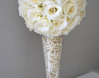 "Ivory Cream flower ball, Premium soft silk, WEDDING CENTERPIECE, wedding pomander kissing ball, flower girl 7"" 8"" 10"" 12 14"" 16"" 18"""