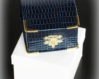 Antique Style Blue Faux Iguana Engagement Ring Box with Gold Clasp