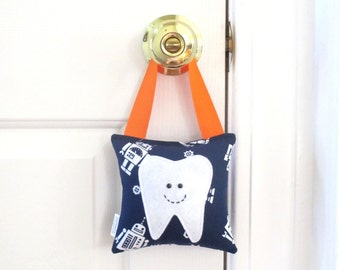 Boys Tooth Fairy Pillow - Personalized Tooth Fairy Pillow - Space Robots