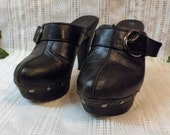 RESERVED for Barielle.  Black Leather Clogs Rivet and Buckle Straps Size 6 . 5