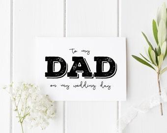 To My Dad On My Wedding Day, Rustic Dad Wedding Day Card, Parents Wedding Card, Card For Dad Wedding Day, To My Parents On My Wedding Day