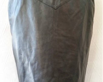 Vintage 80s Real Black leather Pencil Skirt