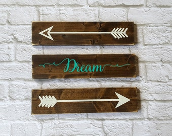 Dream Wall Art -  Rustic Wooden Arrows - 3 Piece Set, Nursery Decor, Wooden Arrow, Arrow Decor, Baby Room Decor, Wooden Arrow Wall Art