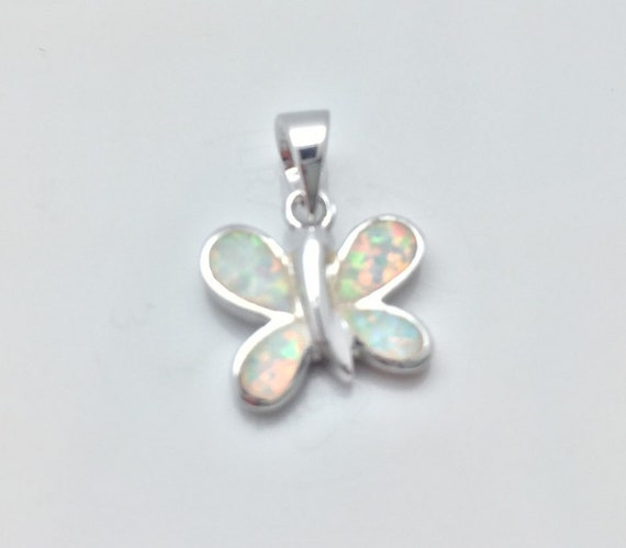 white opal butterfly silver pendant 925 sterling silver