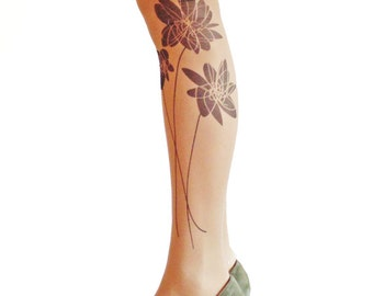 Flower tattoo tights