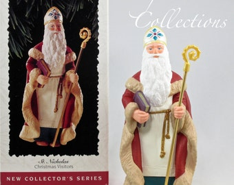 1995 Hallmark St. Nicholas Santa Keepsake Ornament Christmas Visitors Series Saint Nick Vintage