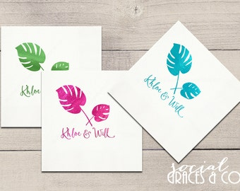 Tropical Palm Monstera Wedding Napkins • Monogrammed Party Accessories • Weddings • Bridal Showers • Engagement Parties • Letterpress Foil