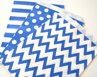 "25PK - Royal Blue 5"" X 7"" Treat Bags // Party Favor // Paper Bag // Wedding, Grad Party, Birthday Party Candy Bar Bags"
