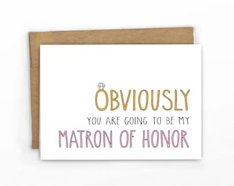 Will You Be My Matron of Honor Card | Obviously! PINK by Cypress Card Co.