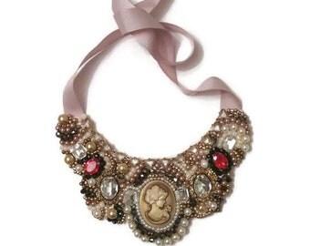 Vintage Cameo Necklace, Cameo Necklace, Vintage Pearl Necklace, Pearl Statement Necklace, Pearl Bib Necklace, Bib Statement Necklace