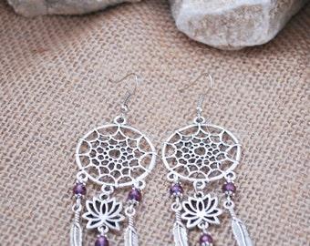 Dream Catcher earrings,  hamsa hand earrings, boho summer lotus earrings, hippie feather flower earrings
