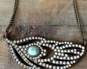 Vintage Freeform Crystal Necklace with Turqouise Accent