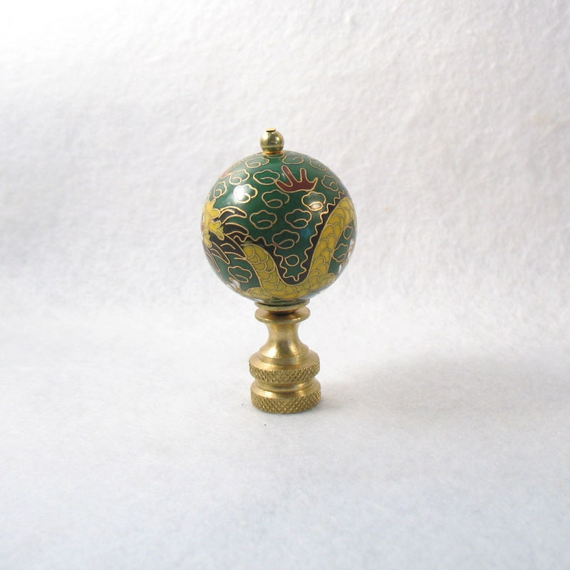 Lamp Finial: Green And Yellow Cloisonne Dragon By LampFinials