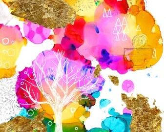 Tree of Life Painting, Print, Rainbow Abstract Tree ,Abstract Tree painting,Whimsical Tree Art,Tree art, Colorful Tree Print, Home Decor