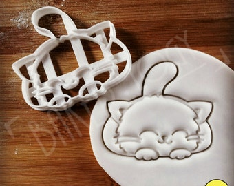 Cute Smiley Cat cookie cutter | Purring Kitten biscuit cutters gifts for pet lovers adorable kitty funny pussycat pets katze | Bakerlogy