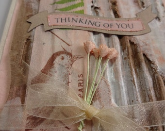 Thinking of You greeting card handmade mixed media collage