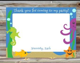 Ocean Theme Thank You Card - Under the Sea Birthday Matching Thank You Card - Pool Party Thank You Card - Thank You Card