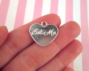 """10 Silver Plated Heart """"Eat Me"""" Charms #581"""