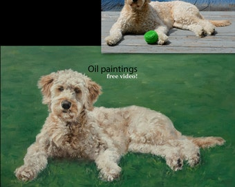 Custom Dog portrait, Pet portrait, Dog Painting - oil painting on stretched canvas. ***Lowest price is 50% DEPOSIT price***
