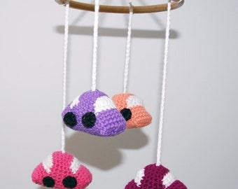 Crochet mobile cars (pink/purple/orange)