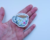 Teacup Brooch, Lapel Pin, Textile Jewellery, Fiber Jewelry, Textile Brooch, Stocking Filler, Teacup, Christmas Gift